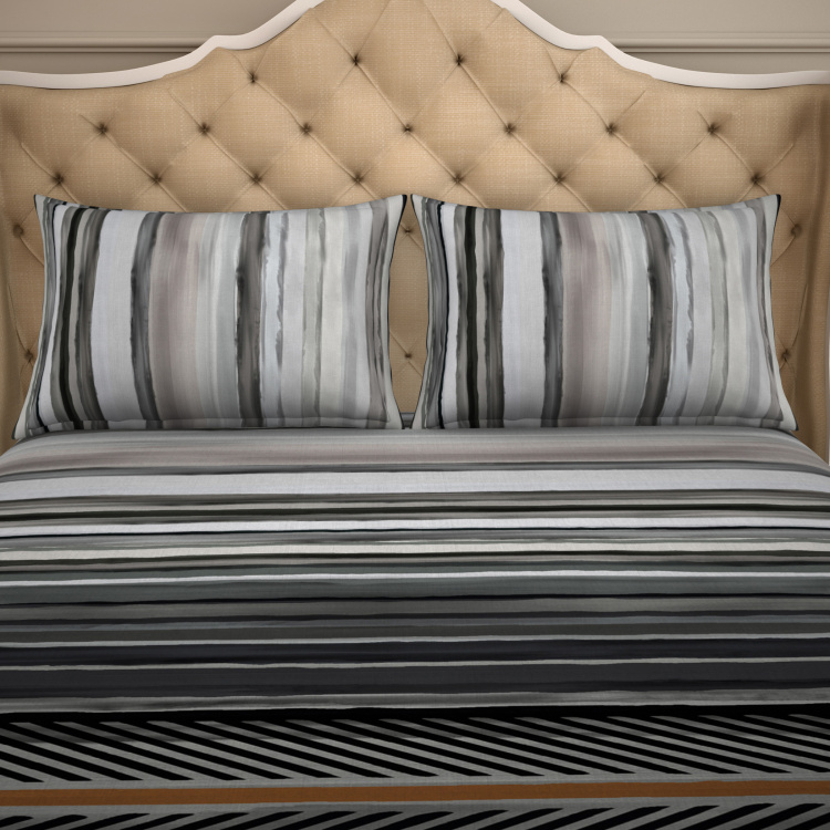 SPACES Bamboo Charcoal Striped 3-Piece Bedsheet Set - 274 x 274 cm