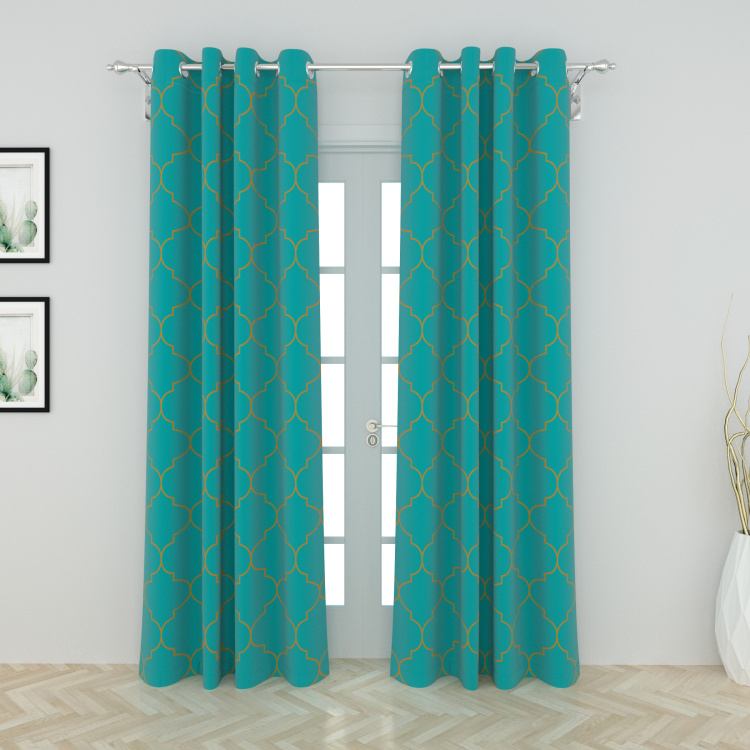 Ananda-Ogee Printed Semi-Blackout Door Curtain Pair - 120 x 225 cm