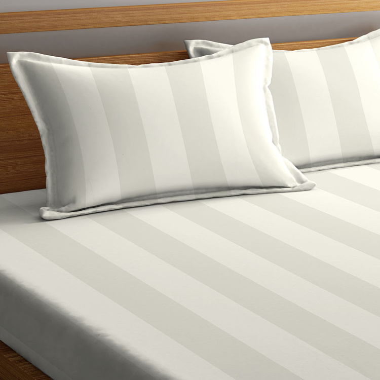 PORTICO Satin Stripe Premium Striped 3-Pc. Super King Bedsheet Set - 274 x 274 cm