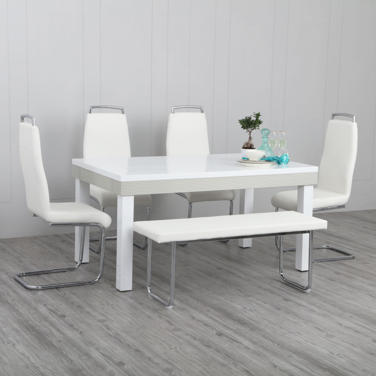 Alabaster 6 Seater Dining Table Set with 4 Chairs and 1 Bench