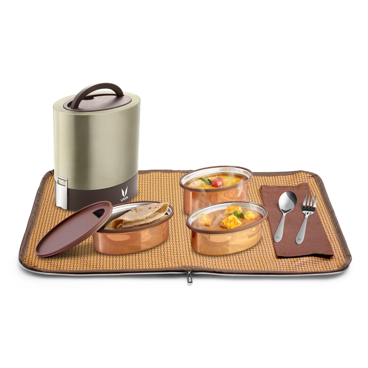 Vaya Tyffyn 3-Container Stainless Steel Lunch Box with Bagmat