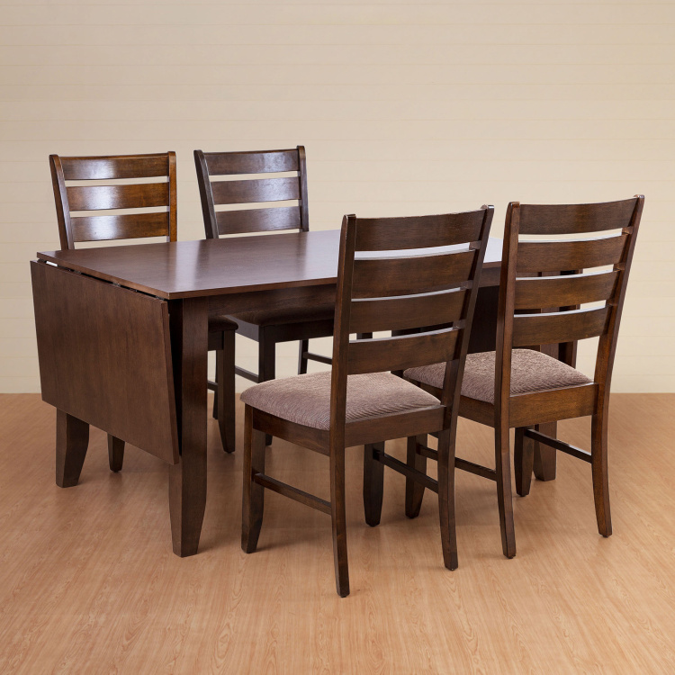 Butterfly 8 Seater Extendable Dining Table Set With Chairs Brown Solid Wood