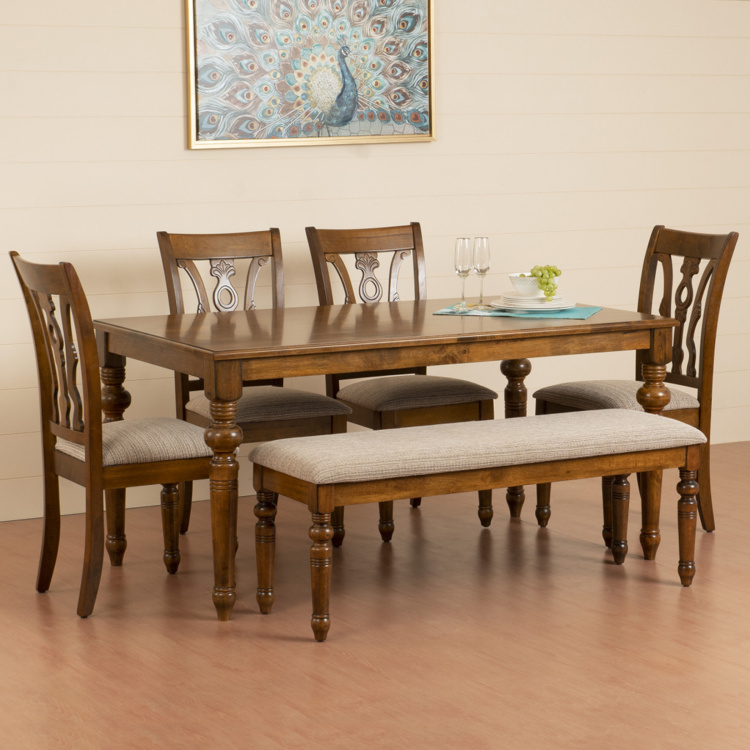 Tagetes 6 Seater Dining Table Set with Chairs and Bench