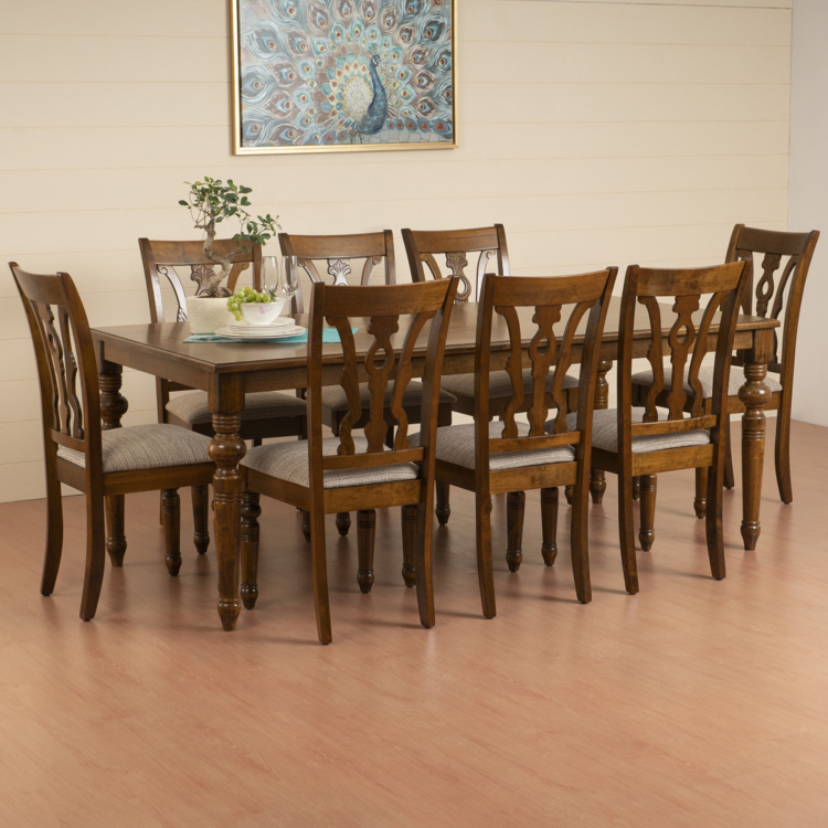 Tagetes 8 Seater Dining Table Set With 8 Chairs Brown Solid Wood