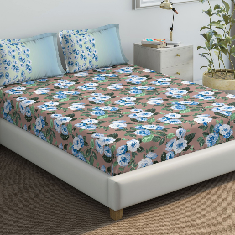 D'DECOR The Prime Floral Print 3-Piece Queen-Size Bedsheet Set - 274 x 229 cm