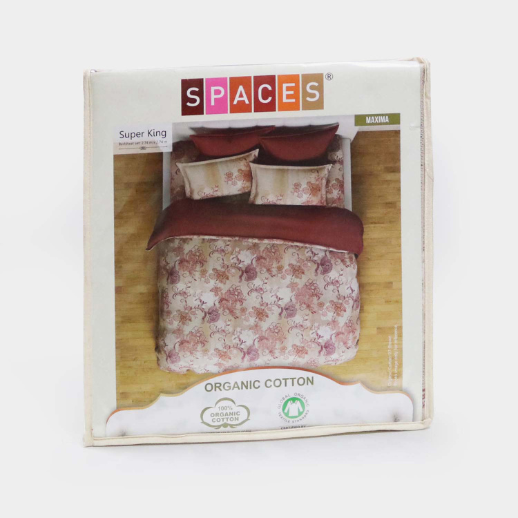 SPACES Organic Cotton Printed 3-Piece Large Bedsheet Set - 274 x 274 cm