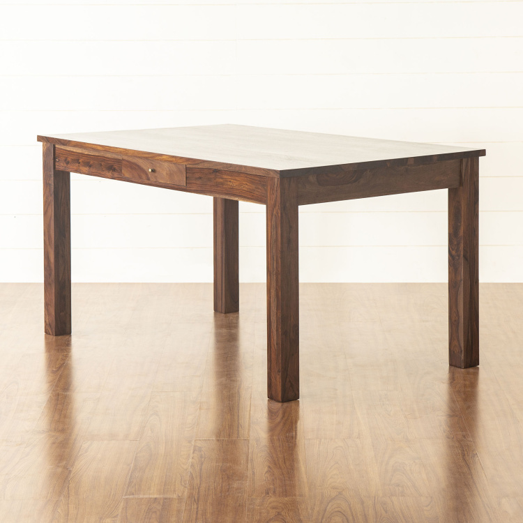 Veda 6 Seater Sheesham Wood Dining Table Without Chairs Brown Solid Wood