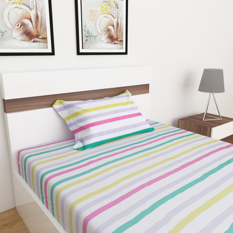 Slate Striped 2-Pc. Flat Single Bedsheet Set - 152 x 228 cm