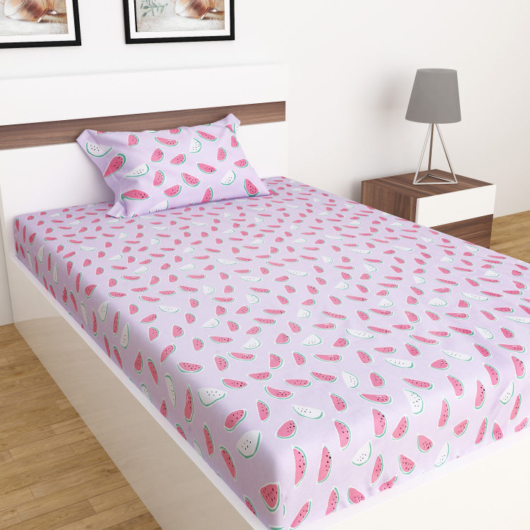 Slate Watermelon Print 2-Pc. Flat Single Bedsheet Set - 152 x 228 cm