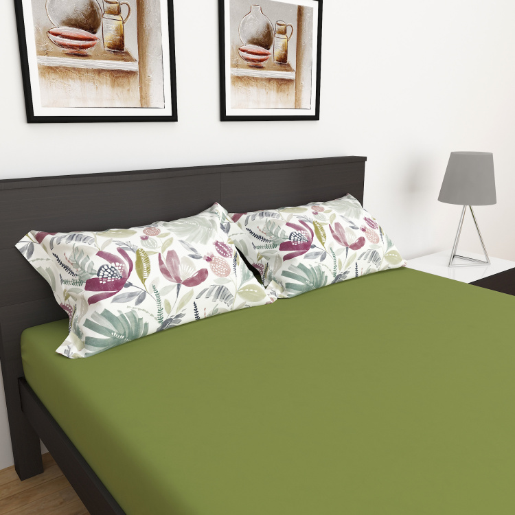 My Bedding 3-Piece Solid Queen Size Fitted Bedsheet Set - 150 x 195 cm