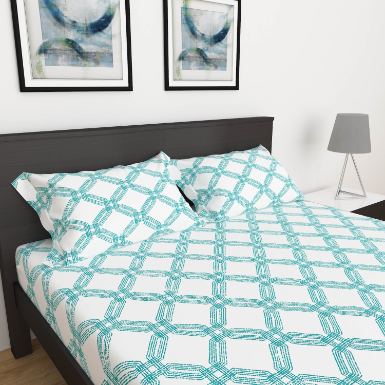 My Bedding 3-Piece Solid King Size Fitted Bedsheet Set - 180 x 195 cm
