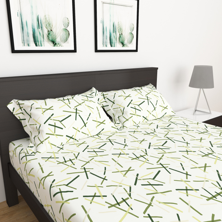 My Bedding 3-Piece Printed Queen Size Fitted Bedsheet Set - 150 x 195 cm