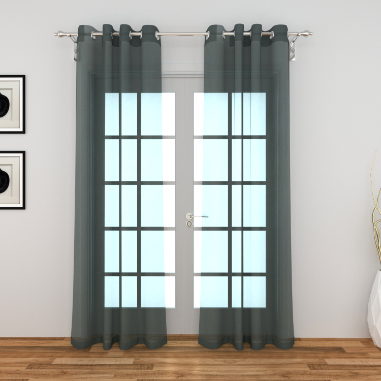 Colour Connect Solid Sheer Door Curtain Pair - 110 x 270 cm