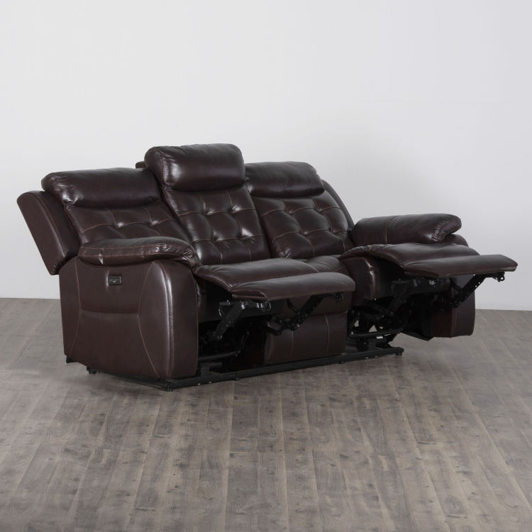 Berlin Three-Seater Half-Leather Electric Recliner