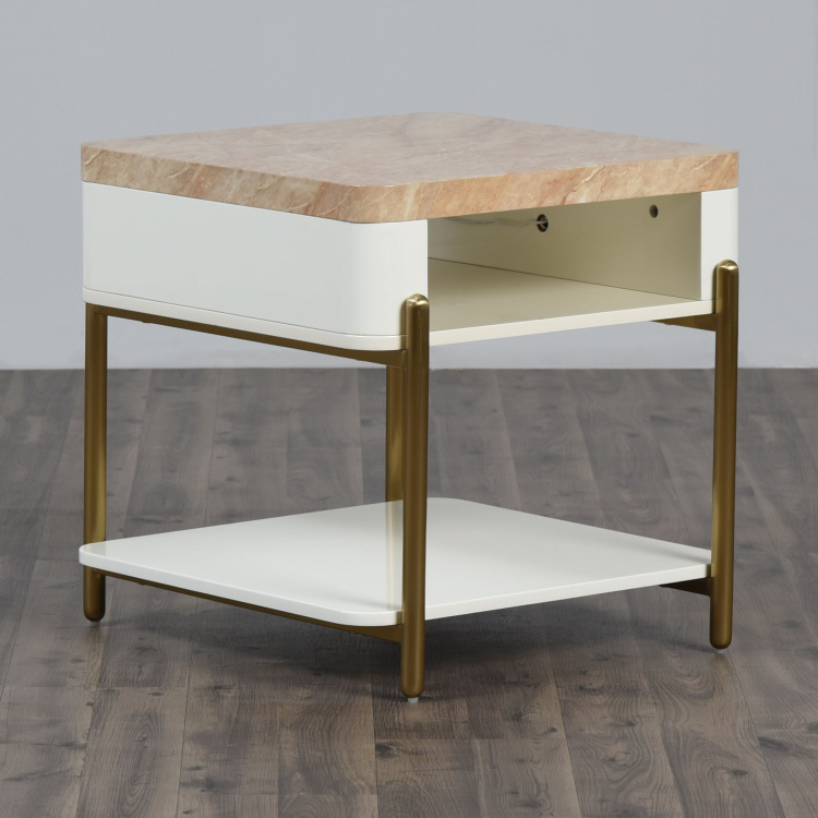 Paris Marble Top End-Table with USB Charger Port