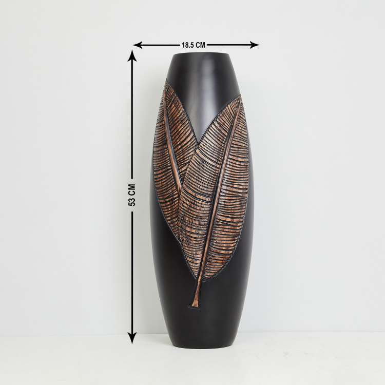 Colossal Textured Leaf Patterned Tall Vase