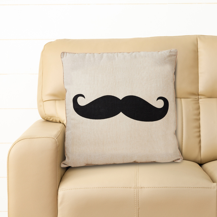 Laurel Moustache Print Filled Cushion - 46 x 46 cm