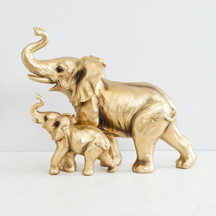 Jaguar Mother And Baby Elephant Figurine
