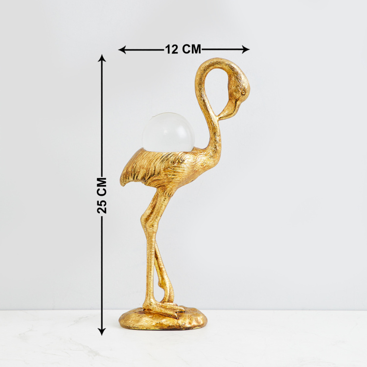 Eternity Flamingo With Crystal Ball Figurine
