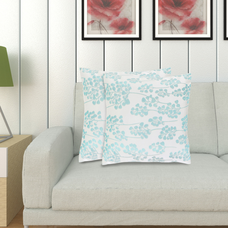 Sketch Bloom Jacquard Cushion Covers - Set of 2 - 40 x 40 cm