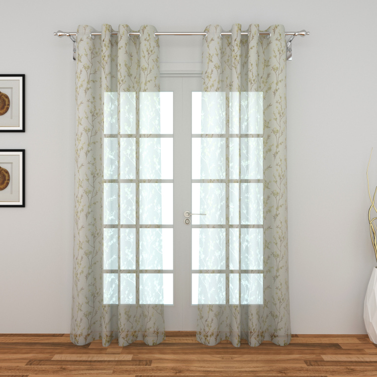 Lavish Printed Sheer Door Curtain Pair - 110 x 270 cm