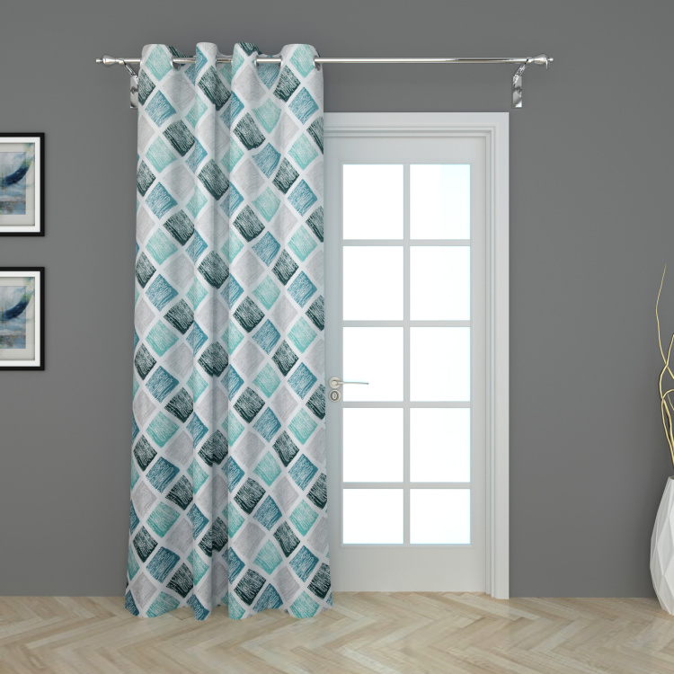 Lavish Checked Door Curtain - 135 x 270 cm