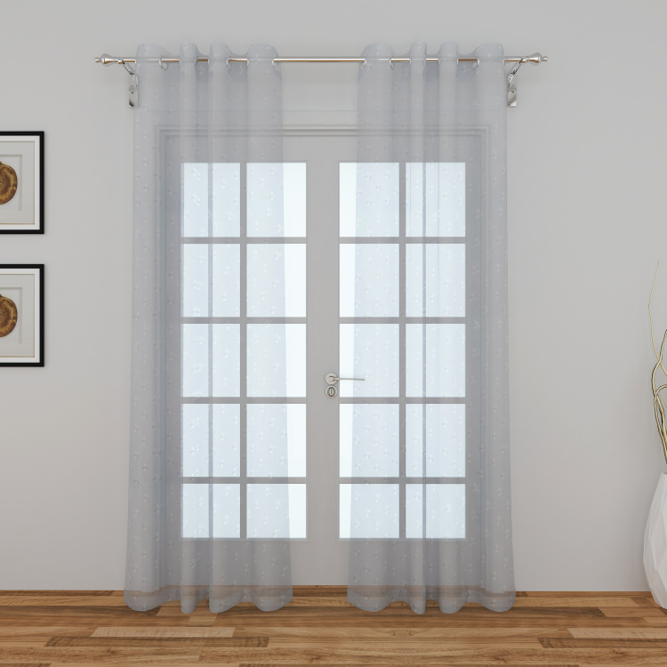 Crystal Stardom Embroidered Sheer Door Curtain Pair - 110 x 225 cm