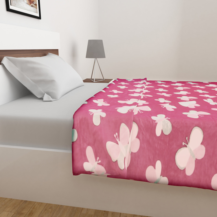 Slate Butterfly Print Single Bed Blanket - 130 x 180 cm
