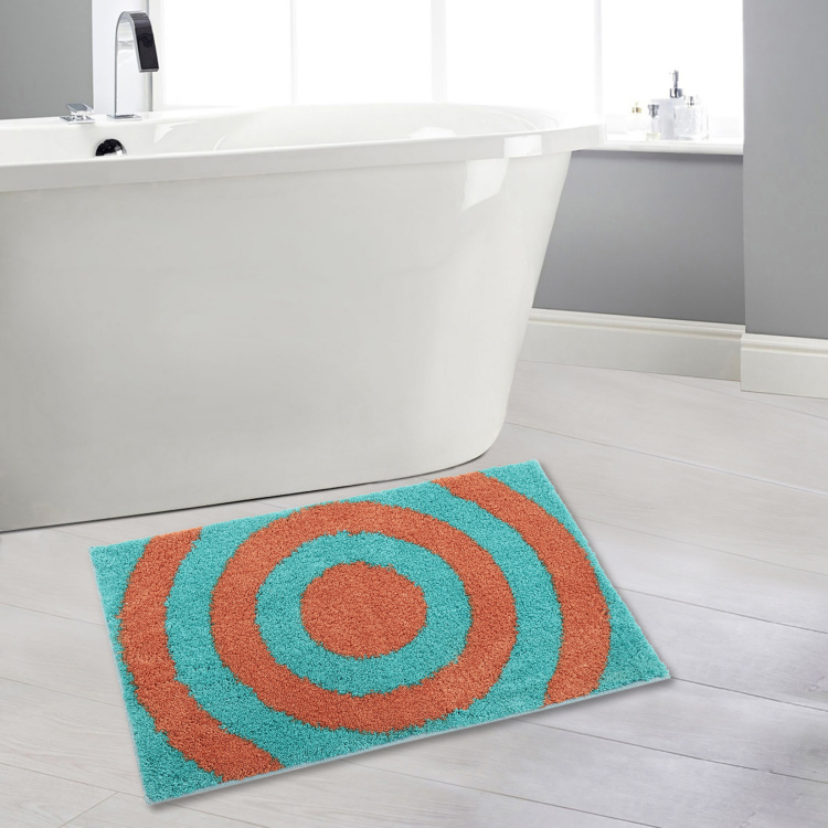 India Inspired Concentric Print Bath Mat - 49 x 75 cm