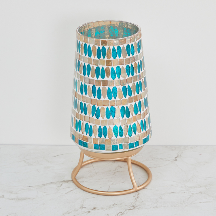 Galaxy Mabel Hexagon Mosaic Hurricane Lamp with Stand