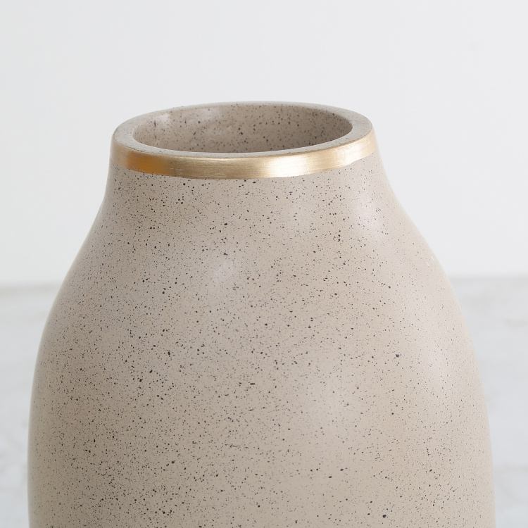 Marshmallow Textured Vase with Gold Rim