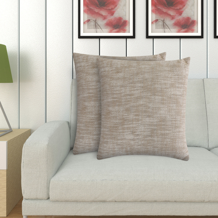 Ebony Melange Textured Filled Cushion - Set of 2 - 40 x 40 cm