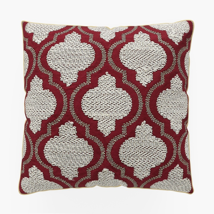 Vintage Ogee Embroidered Cushion Cover - 40 x 40 cm