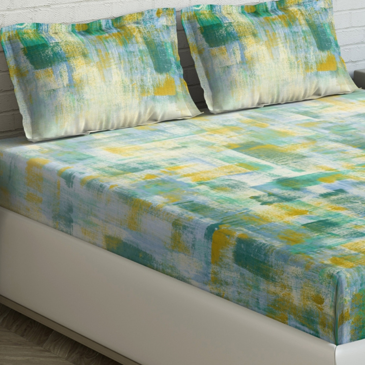 D'DECOR Rustic Strokes Printed 3-Piece King-Size Bedsheet Set - 274 x 274 cm