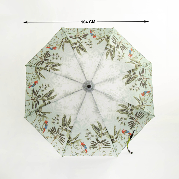 Canopy Parrot Print Three-Fold Umbrella