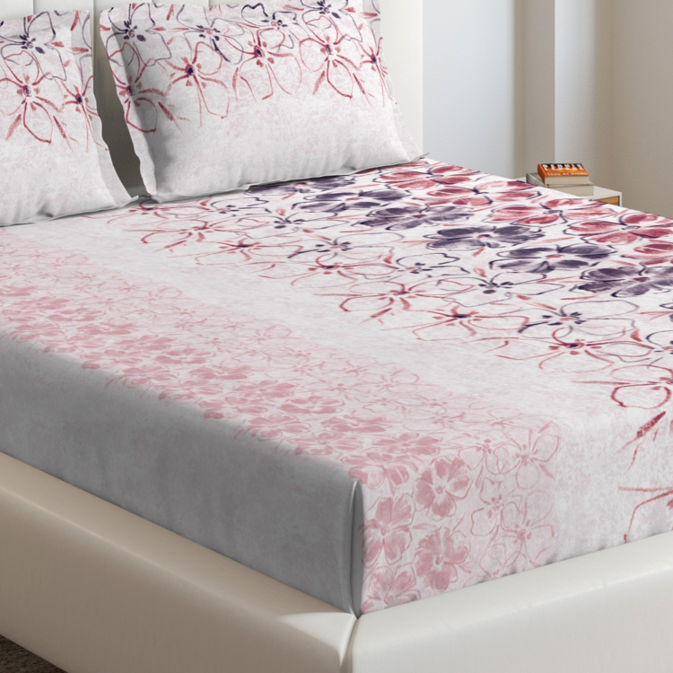 D'DECOR Cherish Printed 3-Pc. King-Size Bedsheet Set - 274 x 274 cm