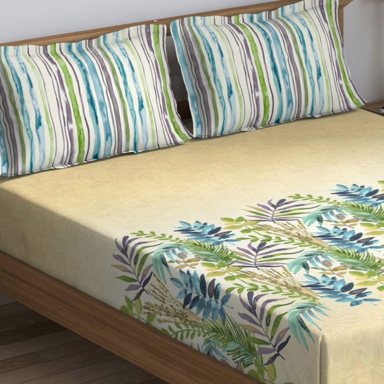 D'DECOR Cherish Tropical  Print 3-Piece Bedsheet Set - 274 x 274 cm