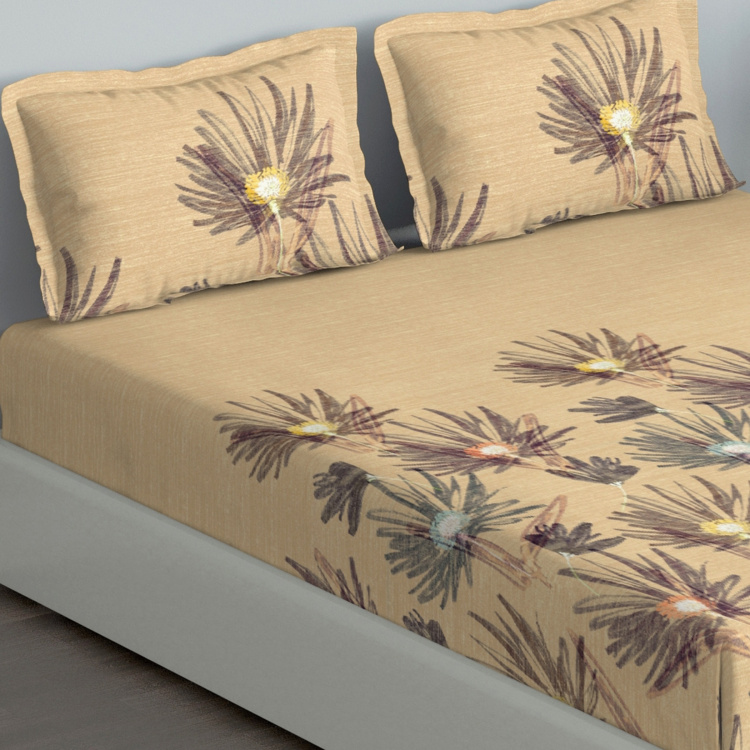 D'DECOR Cherish Floral Print 3-Piece King-Size Bedsheet Set - 274 x 274 cm
