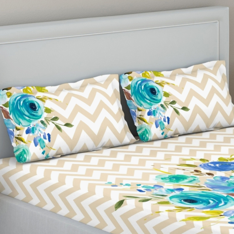 D'DECOR Elemental Printed 3-Piece Double Bedsheet Set - 229 x 274 cm