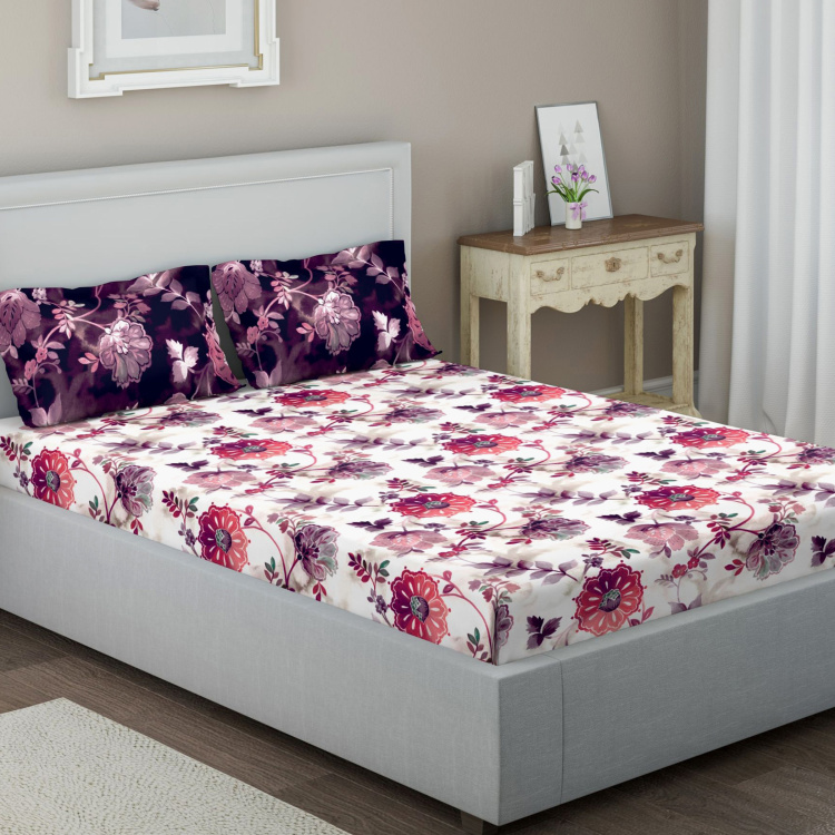 D'DECOR Elemental Printed 3-Pc. Double Bedsheet Set - 229 x 274 cm