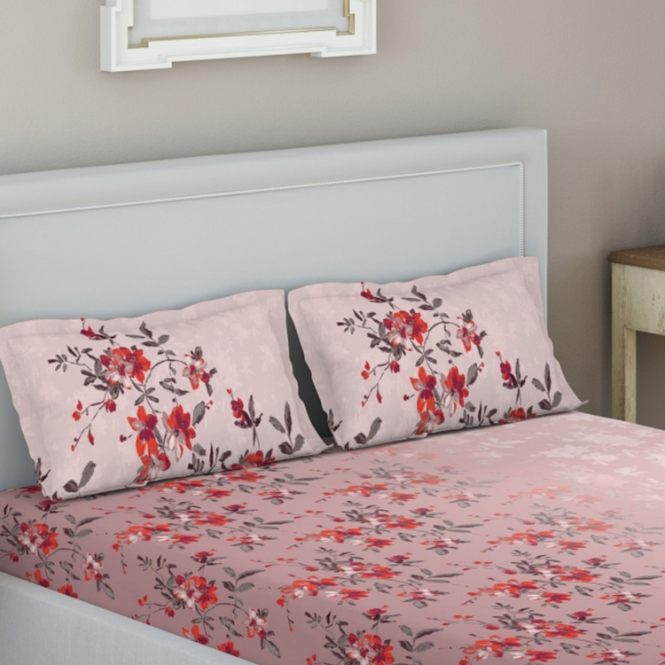 D'DECOR Elemental Floral Print 3-Piece Bedsheet Set - 274 x 229 cm