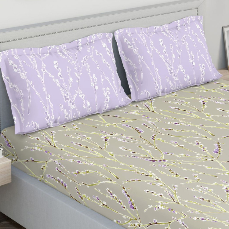 D'DECOR Fusion Floral Print 3-Piece King-Size Bedsheet Set - 274 x 274 cm