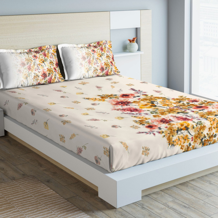 D'DECOR Maxima Floral Print 3-Piece King-Size Bedsheet Set - 274 x 274 cm