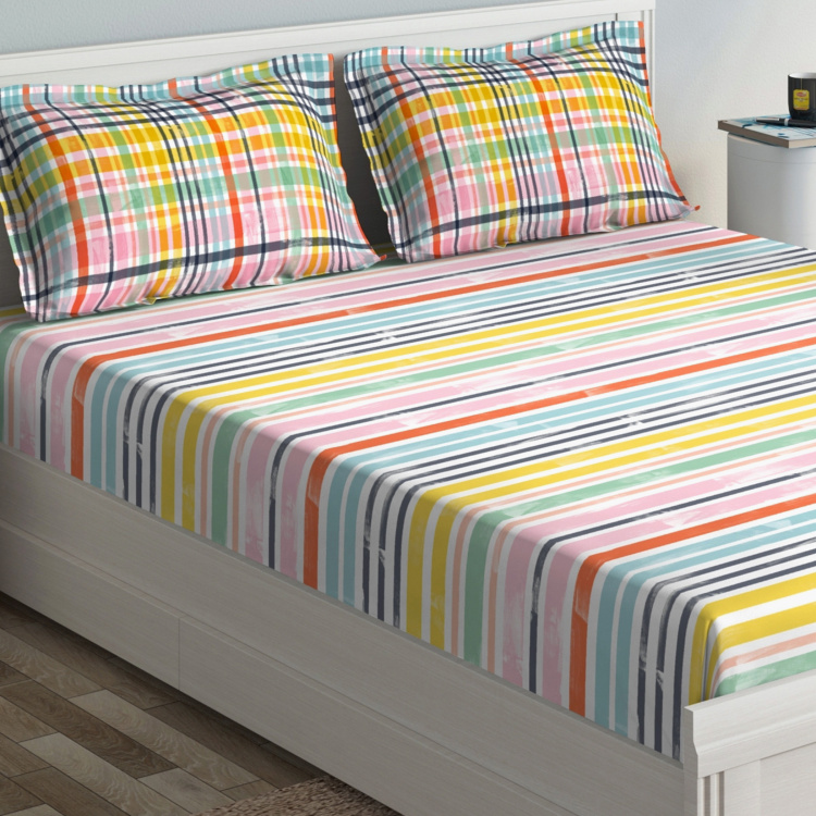 D'DECOR Primary Striped 3-Piece Bedsheet Set - 274 x 229 cm