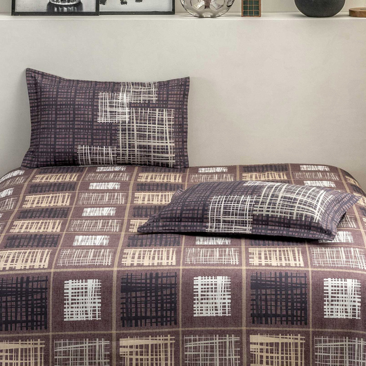 D'DECOR Evita Printed 3-Pc. King Size Bed Cover Set - 274 x 274 cm