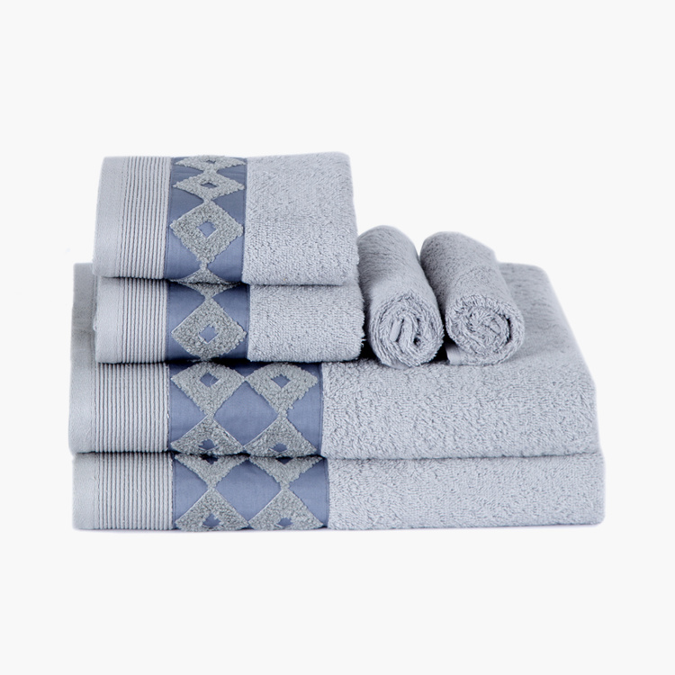 MASPAR Fretwork Parquet Bath Towel - Set of 6 - 70 x 140 cm