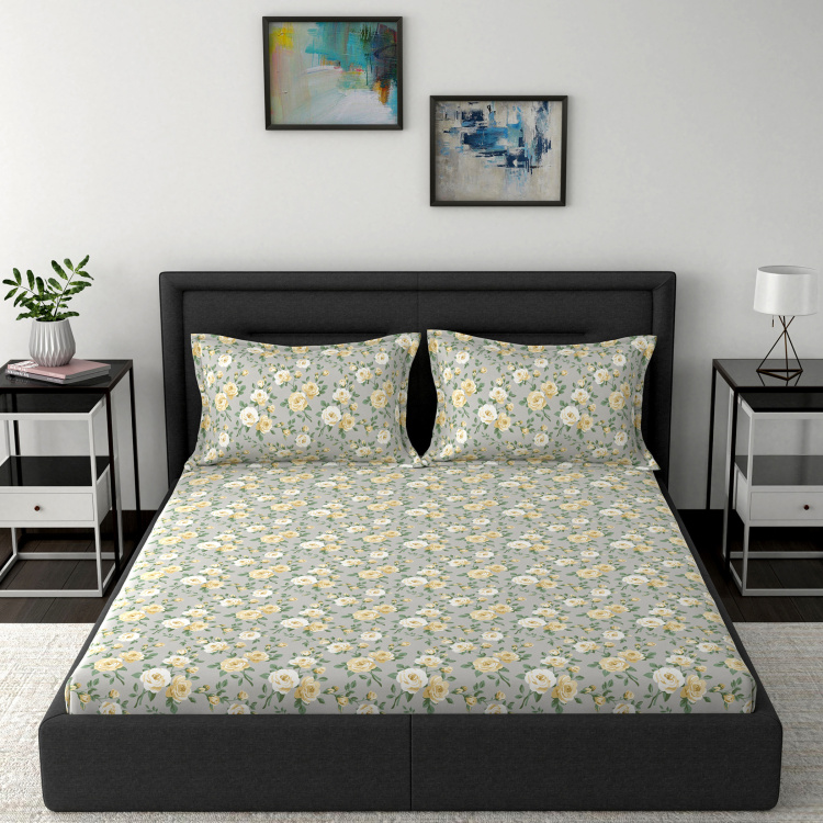MASPAR Superfine Floral Print 3-Piece Double Bedsheet Set - 275 x 224 cm