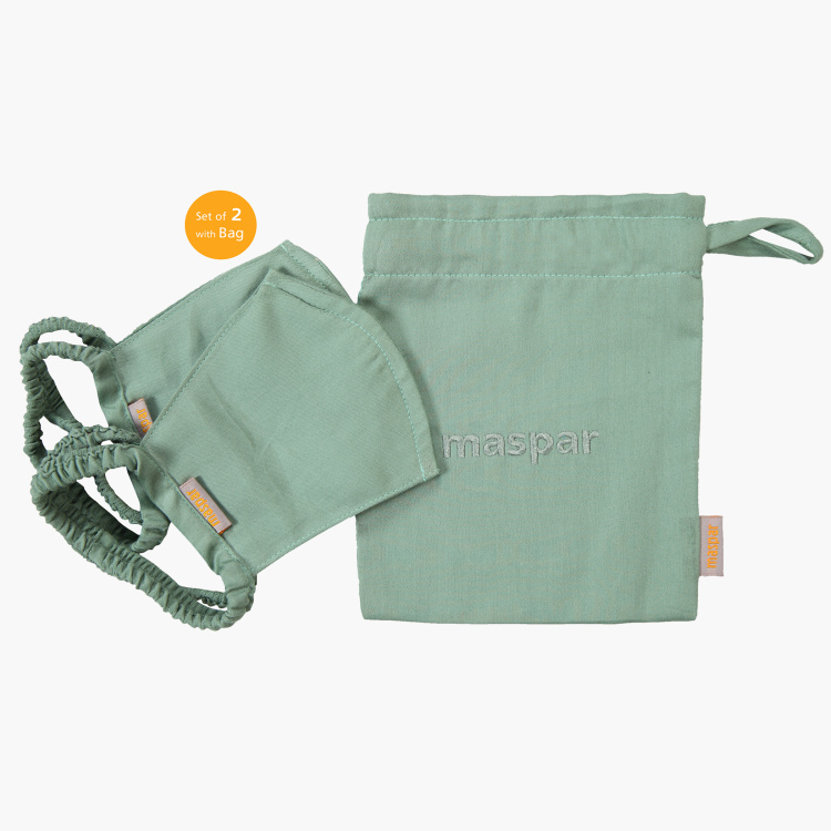 MASPAR 3 Layer Green Outdoor Face Masks Set of 2 with Bag