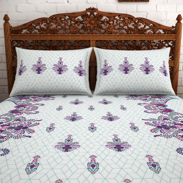 SPACES Celebrations Printed Double Bedsheet Set - 2.29 m x 2.74 m